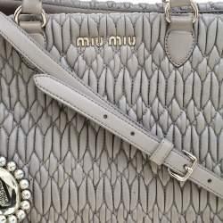 Miu Miu Grey Matelassé Nappa Leather Crystal Tote