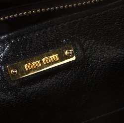 Miu Miu Black Textured Leather Satchel