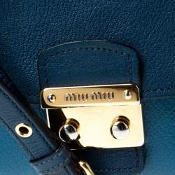 Miu Miu Bicolor Leather Madras Top Handle Bag