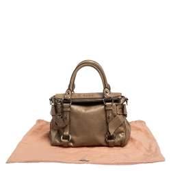 حقيبة يد ميو ميو فيتيلو جلد  بني فاتح بفيونكة