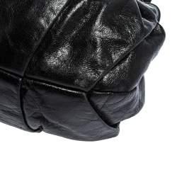 Miu Miu Black Pleated Leather Buckle Hobo