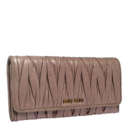 Miu Miu Old Rose Matelasse Leather Continental Wallet