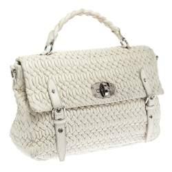حقيبة يد ميو ميو جلد ماتيلاس أبيض بقفل دوار