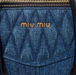 Miu Miu Blue/Black Quilted Denim and Leather Biker Tote