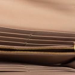 Miu Miu Beige Patent Leather Bow Continental Wallet