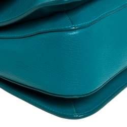 Miu Miu Green Madras Leather Push Lock Flap Top Handle Bag