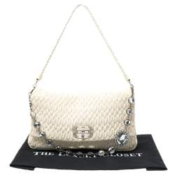 Miu Miu White Matelassé Leather Crystal Flap Shoulder Bag