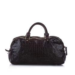 Miu Miu Brown Croc Embossed Leather Triple Zip Satchel Bag