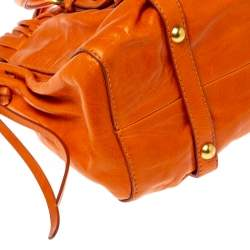 Miu Miu Orange Vitello Lux Leather Gathered Tote