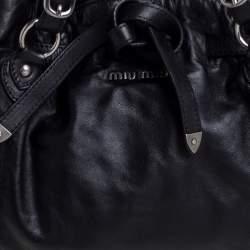 Miu Miu Black Soft Leather Drawstring Bag