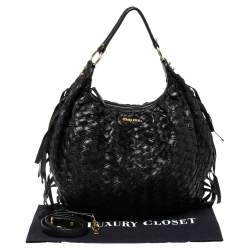 Miu Miu Black Woven Leather Fringe Hobo