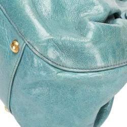Miu Miu Blue Leather Bow-Accented Handle Bag