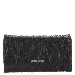 Miu Miu Black Matelasse Leather Wallet