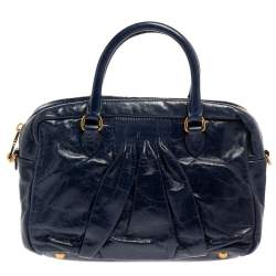 Miu Miu Navy Blue Glazed Pleated Leather Zip Satchel