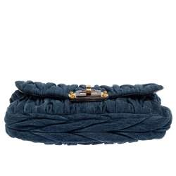 Miu Miu Blue/Gold Matelassé Denim Top Handle Bag