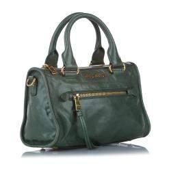 Miu Miu Green Vitello Shine Leather Bauletto Satchel Bag