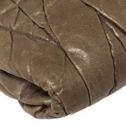 Miu Miu Khaki Green Matelasse Leather Flap Shoulder Bag