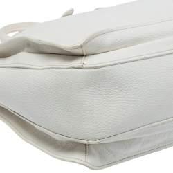 Miu Miu White Madras Leather Pushlock Tote
