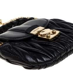 Miu Miu Black Matelasse Leather Coffer Charm Chain Bag