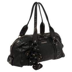 Miu Miu Black Leather Vintage Floral Embellished Satchel