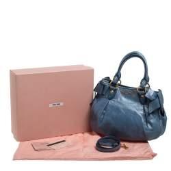 Miu Miu Blue Vitello Lux Leather Bow Satchel