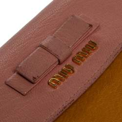 Miu Miu Yellow/Pink Leather Bow French Wallet