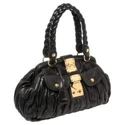 Miu Miu Black Matelasse Leather Frame Satchel