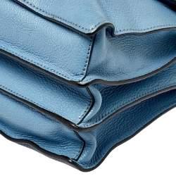 Miu Miu Blue Leather Madras Top Handle Bag