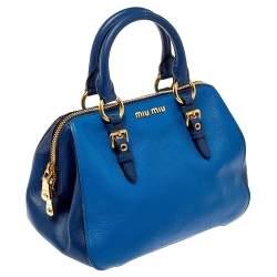 Miu Miu Two Tone Blue Madras Leather Doctor Satchel