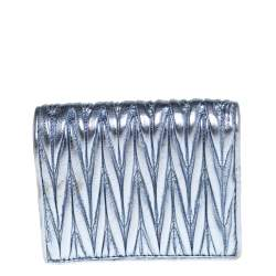 Miu Miu Metallic Blue Matelasse Leather Flap Compact Wallet