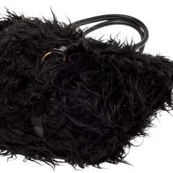 Miu Miu Black Faux Fur And Leather Shoulder Bag