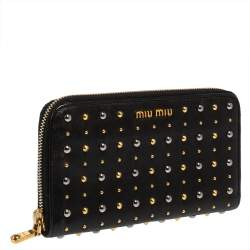 Miu Miu Black Leather Studded Zip Around Wallet