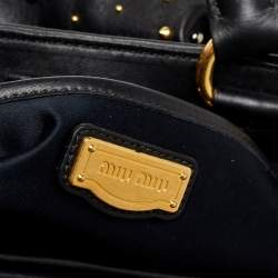 Miu Miu Black Leather Studded Satchel
