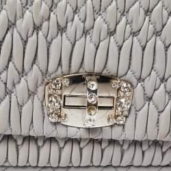 Miu Miu Grey Matelassé Leather Crystal Flap Shoulder Bag