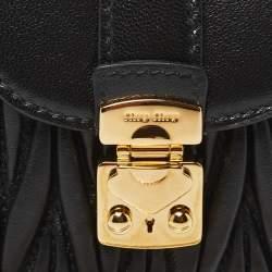 Miu Miu Black Leather Matelassé Leather Mini Crossbody Bag