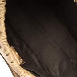 Miu Miu Beige Vitello Leather Gathered Tote