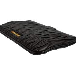 Miu Miu Black Matelasse Leather Clutch