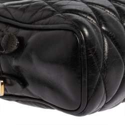 Miu Miu Black Vitello Shine Quilted Leather Crossbody Camera Bag