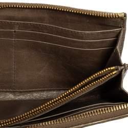 Miu Miu Dark Beige Matelasse Leather Zip Around Continental Wallet