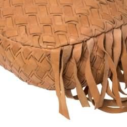 Miu Miu Brown Woven Leather Fringe Hobo