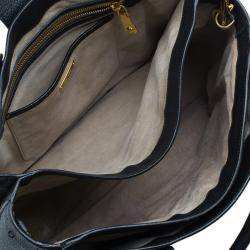 Miu Miu Black Textured Leather Large Madras Tote Bag