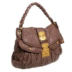 Miu Miu Brown Matelassé Leather Coffer Hobo