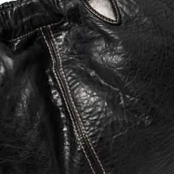 Miu Miu Black Distressed Leather Hobo