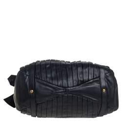 Miu Miu Black Pleated Leather Tote