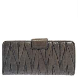 Miu Miu Grey Matelassé Leather Clasp Lock Wallet