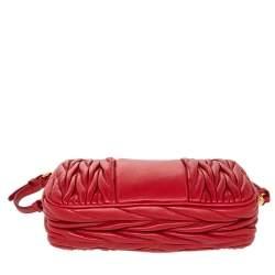 Miu Miu Red Matelassé Leather Double Zip Clutch