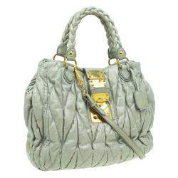 Miu Miu Green Matelasse Lux Leather Large Shoulder Bag