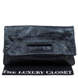 Miu Miu Black Glazed Distressed Leather Oversized Clutch