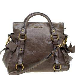 Miu Miu Dark Grey Vitello Lux Leather Bow Top Handle Bag
