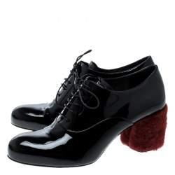 Miu Miu Black Patent Leather Red Shearling Fur Heel Oxfords Size 37